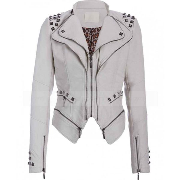 Studded Punk White Biker Jacket For Womens