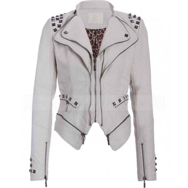 Studded Punk White Biker Jacket For Womens