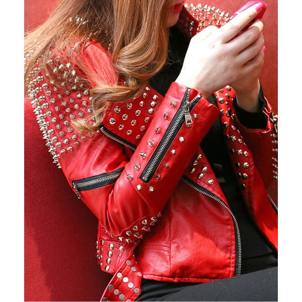 Red Studded Moto Leather Jacket