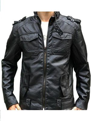 Banded Collar Black Leather Motorcycle Jacket for Men