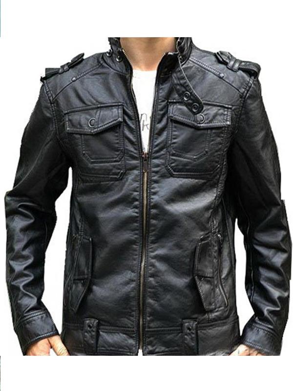 Banded Collar Black Leather Motorcycle Jacket for Men
