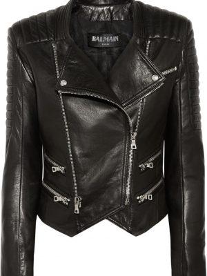Womens Lambskin Black Leather Quilted Biker Jacket-0