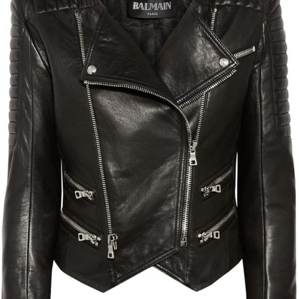 Womens Lambskin Black Leather Quilted Biker Jacket-0