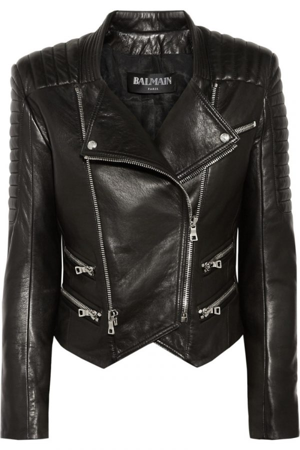 Black Women's Biker Style Leather Jacket
