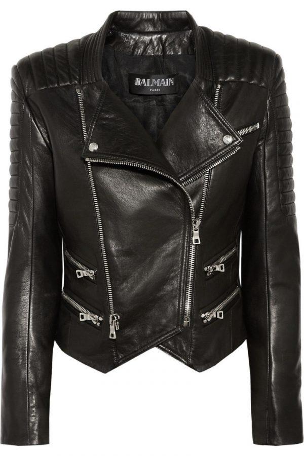 Black Women's Biker Style Leather Jacket