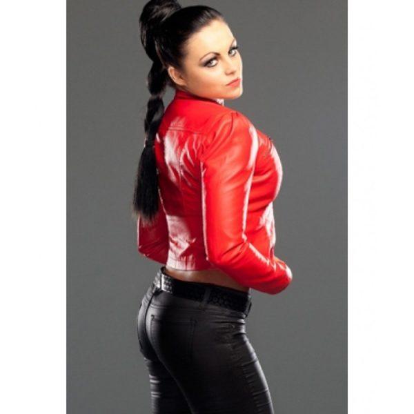 Diva Aksana Red Biker Leather Jacket