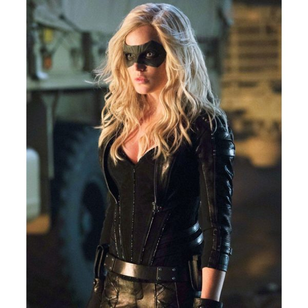 Katie Cassidy Arrow Season 2 Black Canary Leather Jacket-0