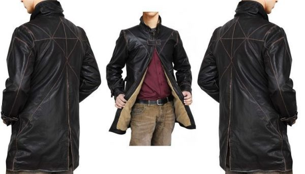 Brown Watch Dogs Trench Coat