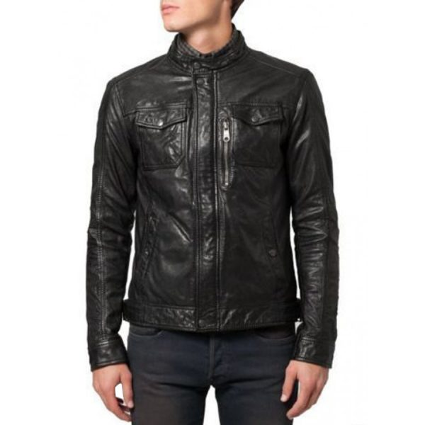 Snap Tab Collar Soft Lambskin Black Leather Bomber Jacket-0