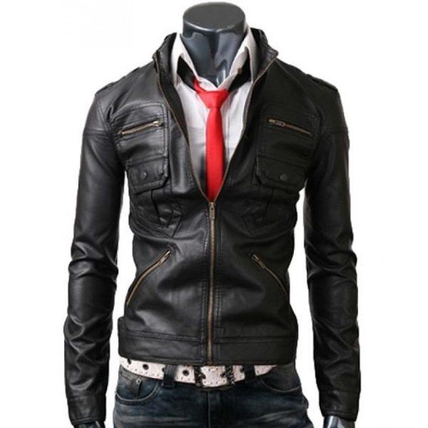 Zip Pocket Mens Slim Fit Black Leather Jacket-0