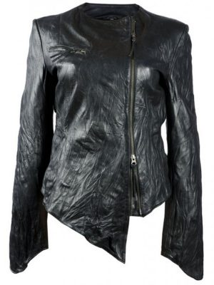 Washed Black Leather Jacket For Women-0