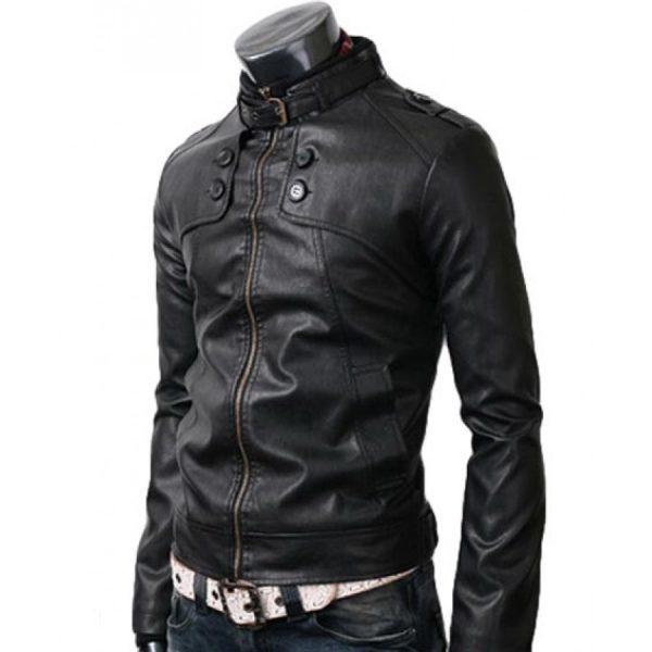 Mens Button Pocket Style Black Leather Jacket-0