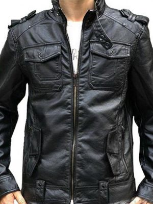 Banded Collar Black Leather Motorcycle Jacket for Men-0
