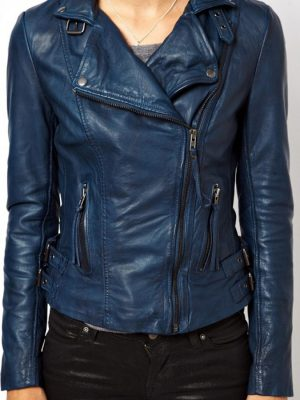 Womens Lambskin Blue Leather Biker Jacket-0