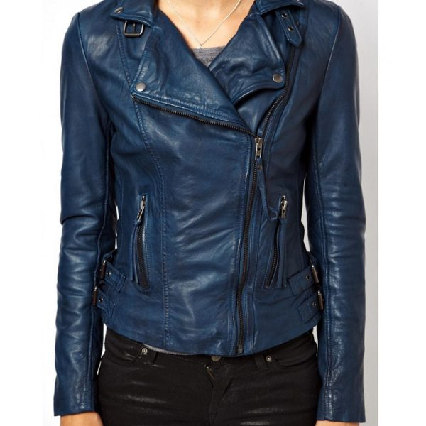 Blue womens Biker Leather Jacket