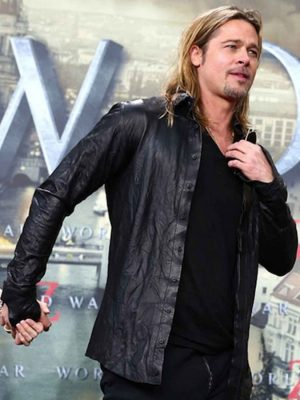 World War Z Premiere Brad Pitt Leather Jacket-0
