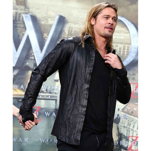 World War Z Premiere Brad Pitt Leather Jacket-0