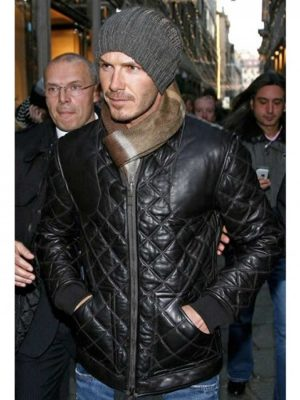 David Beckham Black Leather Quilted Jacket-0