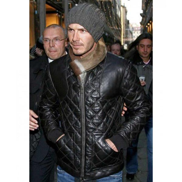 David Beckham Black Leather Quilted Jacket-0