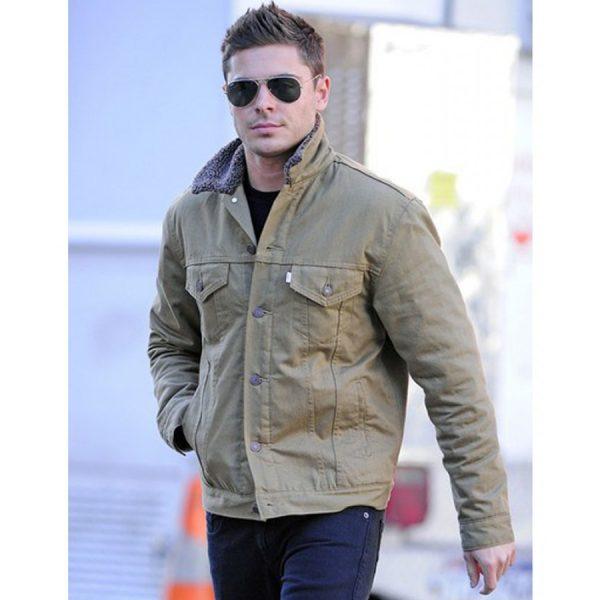 Zac Efron Denim Jacket With Fur Collar-0