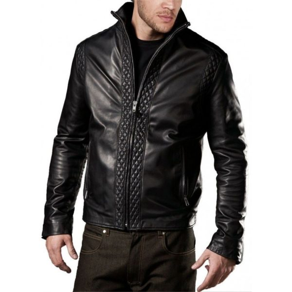 Soft Lambskin Mens Designer Black Leather Jacket-0