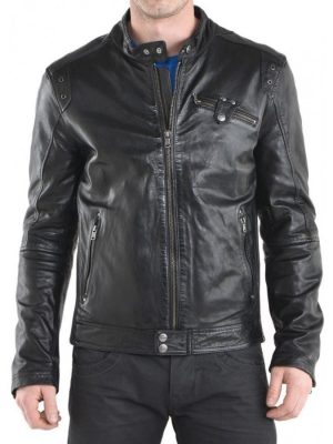 Simple Look Designer Black Leather Jacket-0