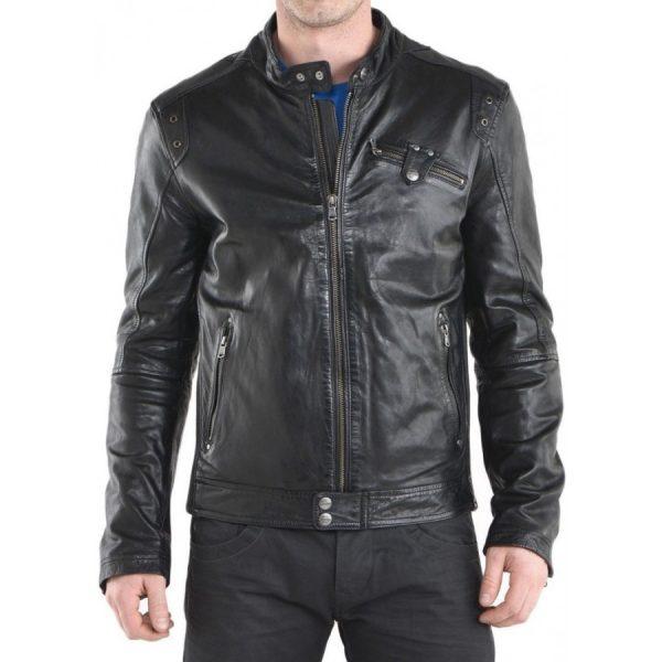 Simple Look Designer Black Leather Jacket-0