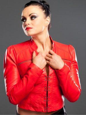 WWE Wrestler Diva Aksana Red Leather Jacket-0