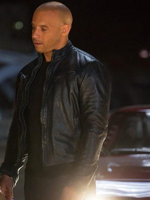 Vin Diesel Black Leather Jacket Fast and The Furious-0