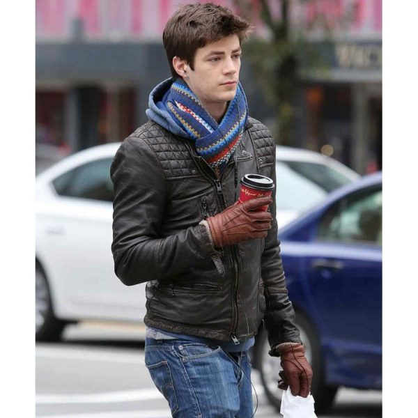 Grant Gustin The Flash Black Quilted Leather Jacket