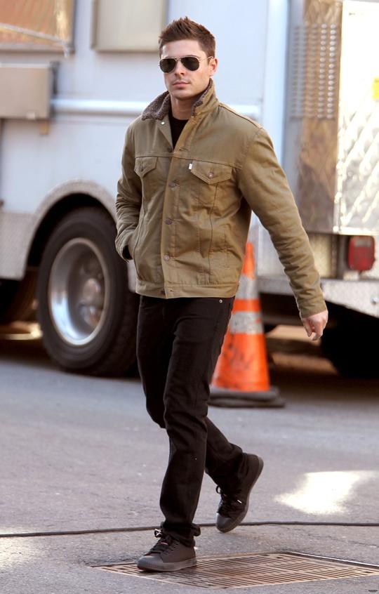 Zac effron Khaki Jacket Fur Collar