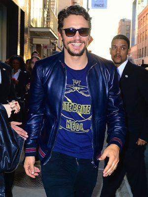 James Franco Blue Leather Jacket-0