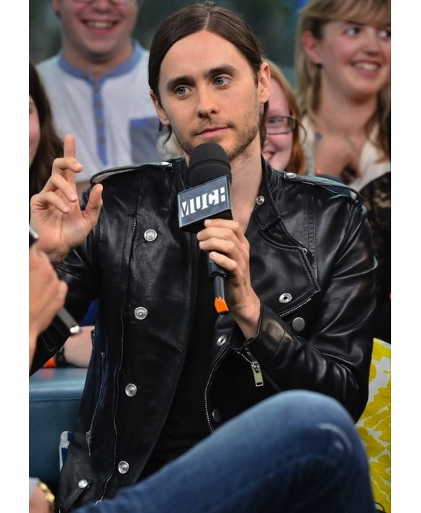 Jared Leto Black Leather Jacket