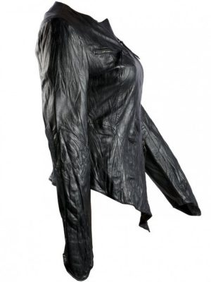 Washed Black Womens Leather Jacket