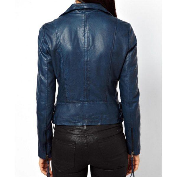 Womens Blue Leather Jacket