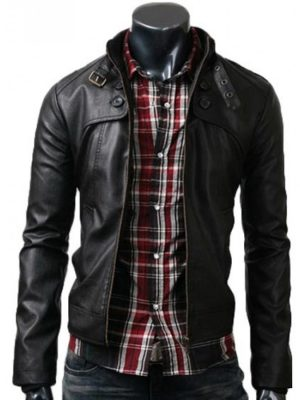 Button Pocket Style Mens Black Leather Jacket
