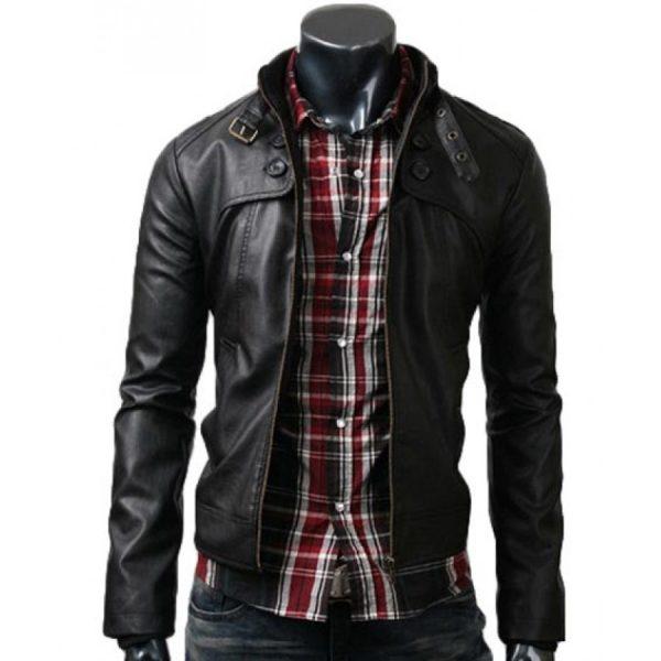 Button Pocket Style Mens Black Leather Jacket