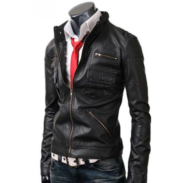 Black Slim-fit Leather Jacket For Men