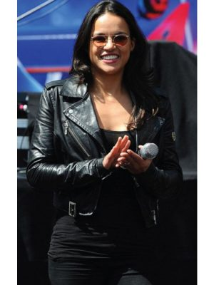 Turbo Press Event Michelle Rodriguez Leather Jacket-0