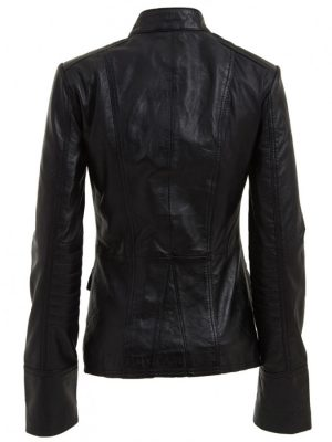 Military Style Black Womens Leather Jacket