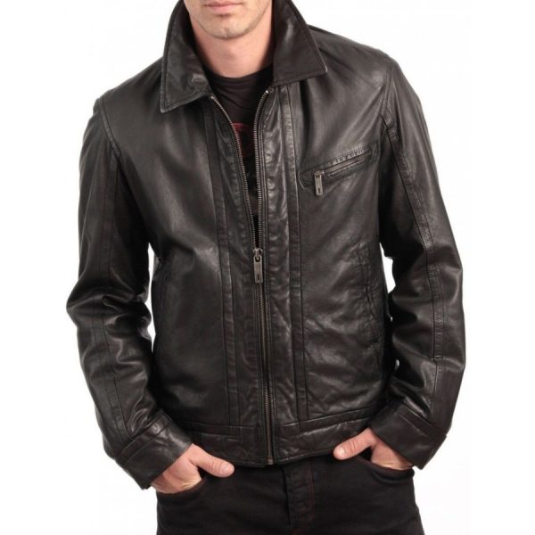 Shirt Style Collar Front Zip Closure Brown Leather Jacket-0