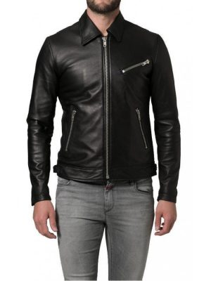 Shirt Collar Soft Lambskin Black Leather Jacket-0