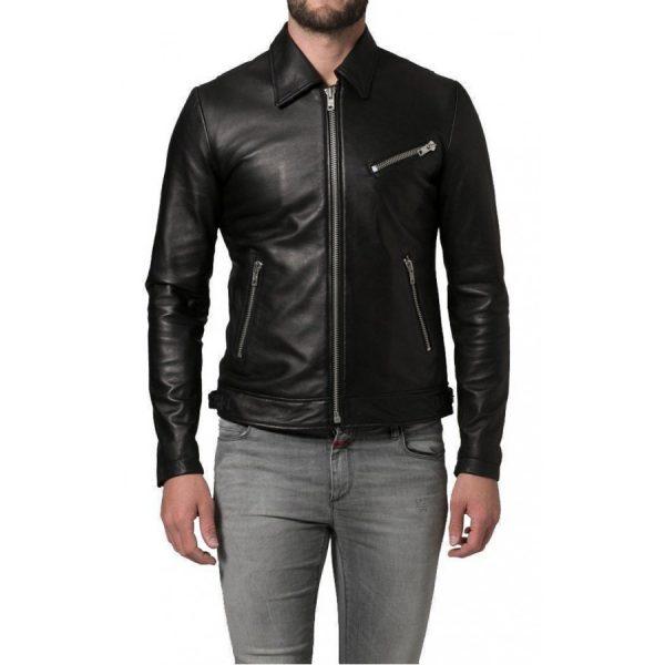 Shirt Collar Soft Lambskin Black Leather Jacket-0