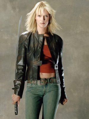 The Bride Kill Bill Uma Thurman Black Leather Jacket-0