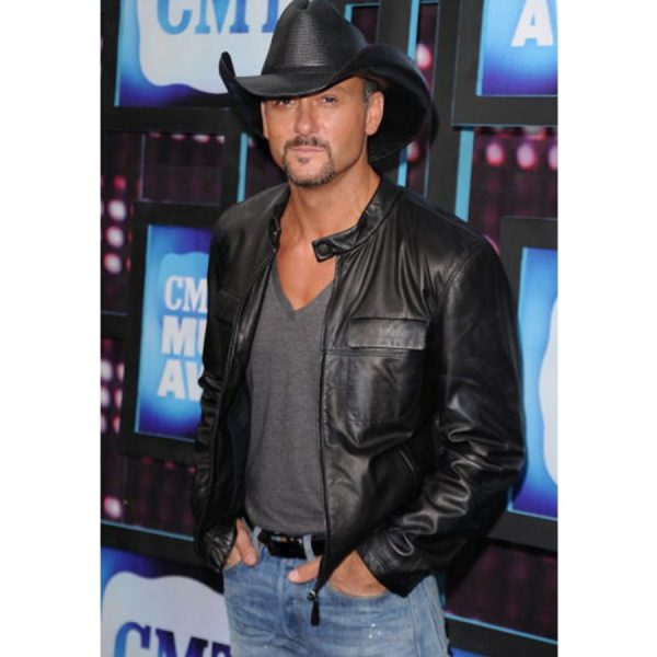 Southern Voice Tim Mcgraw Black Leather Jacket-0