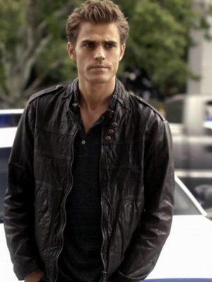 The Vampire Diaries Stefan Salvatore Black Leather Jacket-0