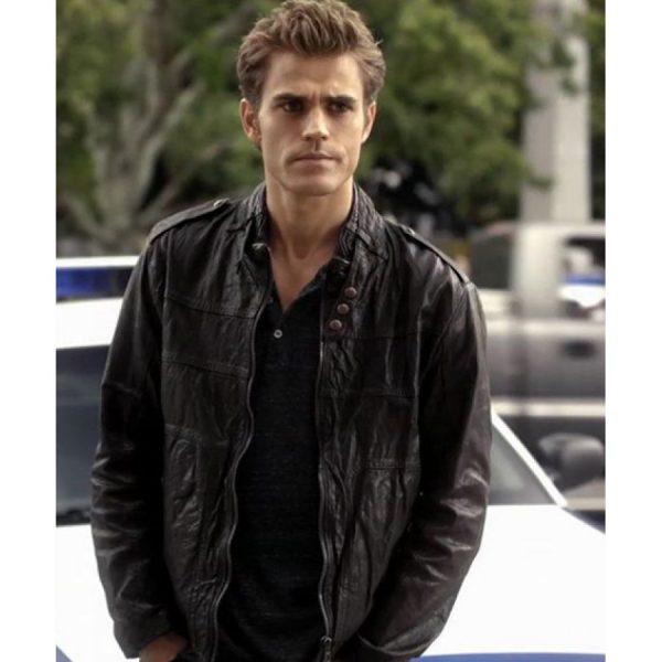 The Vampire Diaries Stefan Salvatore Black Leather Jacket-4091