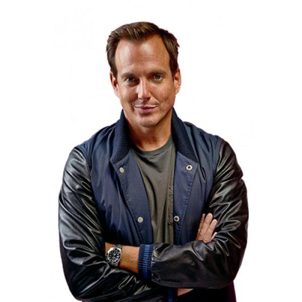 Will Arnett Leather Sleeves Cotton Jacket