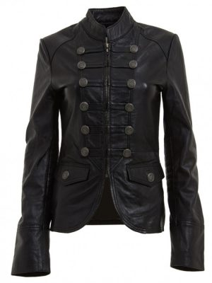 Womens Military Style Black Leather Blazer Jacket-0