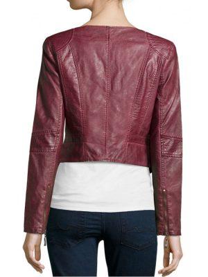 Cropped Women's Biker Leather Jacket